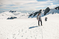 A party of climbers walking across Davis Snowfield of the Franz Josef Glacier - Westland National Park, West Coast, New Zealand