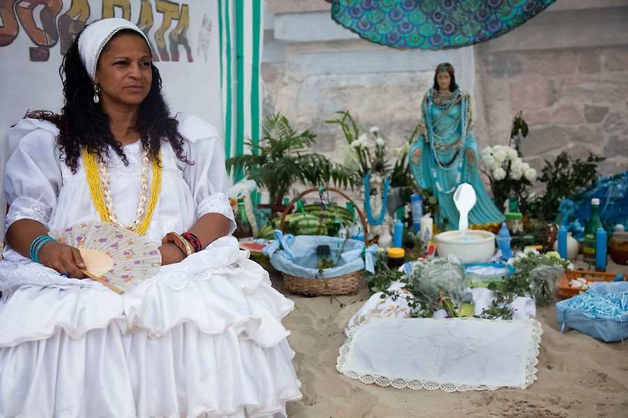 "Priestess or ""Mae"" Susana Andrade on the ""Day of Yemanja"", goddess of water, in Montevideo, Uruguay."