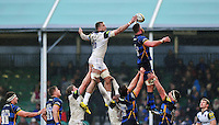 Dominic Day of Bath Rugby wins the ball at a lineout. Aviva Premiership match, between Worcester Warriors and Bath Rugby on February 13, 2016 at Sixways Stadium in Worcester, England. Photo by: Patrick Khachfe / Onside Images
