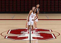 STANFORD, CA - September, 20, 2016: The 2016-2017 Stanford Women's Basketball Team. Briana Roberson (10), Karlie Samuelson (44), Erica McCall (24).