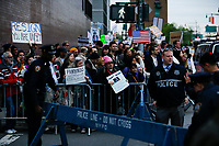 NEW YORK, NY - May 04: Activists take part in a protest near the USS Intrepid where U.S. president Donald Trump is hosting the visit of Australian Prime Minister Malcolm Turnbull late today after a delay on his schedule on May 4, 2017 in New York City. US President Donald Trump is returning to NYC after taking office in Washington as president,  Photo by VIEWpress/Eduardo MunozAlvarez
