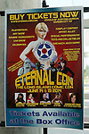 Garden City, New York, U.S. - June 14, 2014 - A poster lists events and some celebrities attending Eternal Con 2014, the annual Pop Culture Expo, with costumes, Comic Books, Collectibles, Gaming, Sci-Fi, Cosplay, Horror, and held at the Cradle of Aviation Museum on Long Island.
