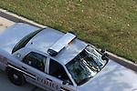 A police car responding to a call on the road greifenhagen