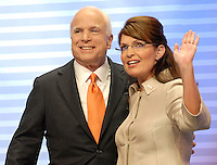 Alaska Governor and Republican Vice President nominee Sarah Palin and Senator and Republican Presidential nominee John McCain at the 2008 Republican National Convention at the Excel Center in St. Paul, Minnesota.