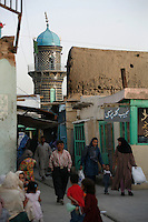 Murad Khane market district, with Abu Fazl mosque in background. .Turquoise Mountain Foundation is working to preserve Afghanistan's traditional crafts and historical buildings. In Kabul, work has started in the historic Murad Khane part of Kabul, and is largely completed in the royal Kart-e-Parwan fort.