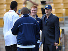 Sep 8, 2012; Actor Vince Vaughn poses for photos before the game...Photo by Matt Cashore