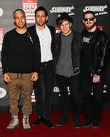 HOLLYWOOD, LOS ANGELES, CA, USA - NOVEMBER 04: Pete Wentz, Joe Trohman, Patrick Stump, Andy Hurley, Fall Out Boy arrive at the Los Angeles Premiere Of Disney's 'Big Hero 6' held at the El Capitan Theatre on November 4, 2014 in Hollywood, Los Angeles, California, United States. (Photo by Celebrity Monitor)