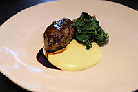 The dish of balsamic vinegar pork cheek with extra virgin olive oil potato purèe and sauteed spinach on the I love Modena 65€ tasting menu at Franceschetta 58, Modena. Franceschetta 58 is the second restaurant of Massimo Bottura, whose restaurant Osteria Francescana is the No 1 ranked restaurant in the 2016 The World's 50 Best Restaurants, and is rated with three stars by the Michelin Guide. Photo Sydney Low