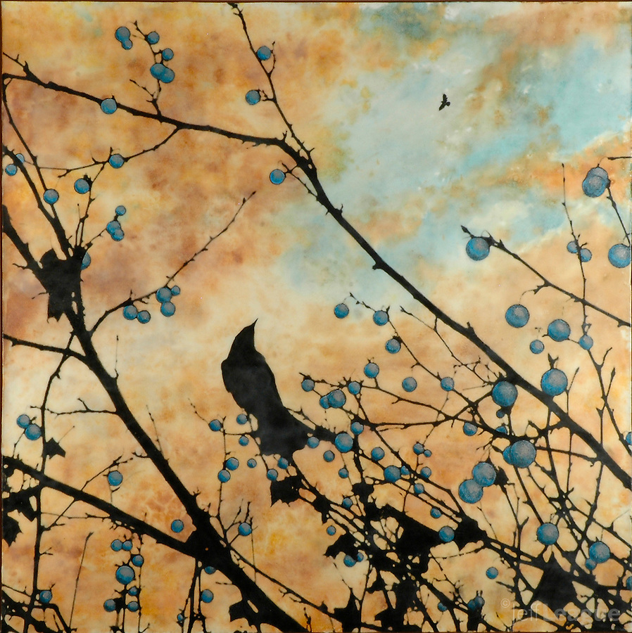 Painting with photography of birds in sunset sky in blue and orange