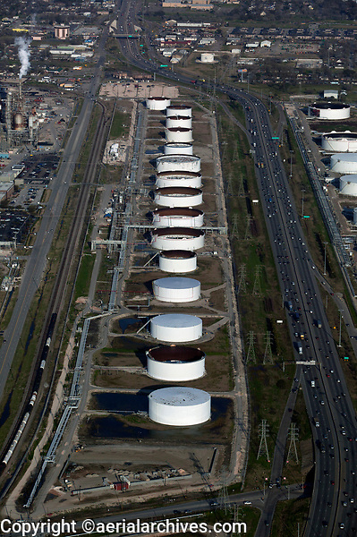 aerial photograph of refinery storage tanks along the Houston Ship Channel, Port of Houston, Texas
