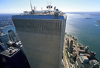 Looking Down, Manhattan, New York City, New York, USA, Twin Towers, World Trade Center, designed by Minoru Yamasaki, International Style II