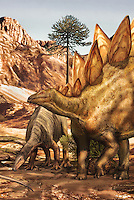 Illustrated information panel depicting dinosaurs of the Jurassic Period (Morrison Formation), 150 million years ago, at the Garden of the Gods Visitor and Nature Center, at the Garden of The Gods, an area of geological rock formations protected as a public park, near Colorado Springs, Colorado, USA. These Colorado dinosaurs are a camptosaur and stegosaurus. The Garden of the Gods was listed as a National Natural Landmark in 1971. Picture by Manuel Cohen