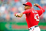 6 June 2010: Washington Nationals' pitcher Miguel Batista on the mound against the Cincinnati Reds at Nationals Park in Washington, DC. The Reds edged out the Nationals 5-4 in a ten inning game. Mandatory Credit: Ed Wolfstein Photo