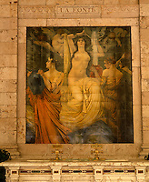 A tiled mural on the wall of the Gallaria delle Bibite espousing the fountain of youth qualities of the thermal water