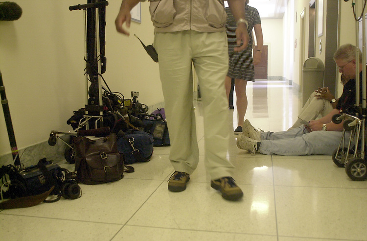 Lazio R.2(DG) 051900 -- T.V. crews and reporters wait outside of Rick Lazio's office in the rayburn house Office Building.