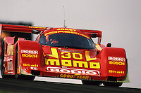 LEXINGTON, OH - MAY 31: The Joest Racing Porsche 962C of Gianpiero Moretti and Massimo Sigala is driven during the Nissan Grand Prix of Ohio IMSA GTP/Lights race at the Mid-Ohio Sports Car Course near Lexington, Ohio, on May 31, 1992.