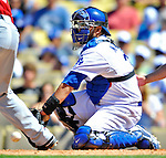 24 July 2011: Los Angeles Dodgers catcher Dioner Navarro in action against the Washington Nationals at Dodger Stadium in Los Angeles, California. The Dodgers defeated the Nationals 3-1 to take the rubber match of their three game series. Mandatory Credit: Ed Wolfstein Photo