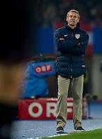 VIENNA, Austria - November 19, 2013: Manager Jurgen Klinsmann during a 0-1 loss to host Austria during the international friendly match between Austria and the USA at Ernst-Happel-Stadium.