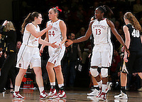 STANFORD, CA - January 27, 2013: Stanford Cardinal's Sara James (21) and Chiney Ogwumike (13) during Stanford's 69-56 victory over the Colorado Buffaloes at Maples Pavilion in Stanford, California.