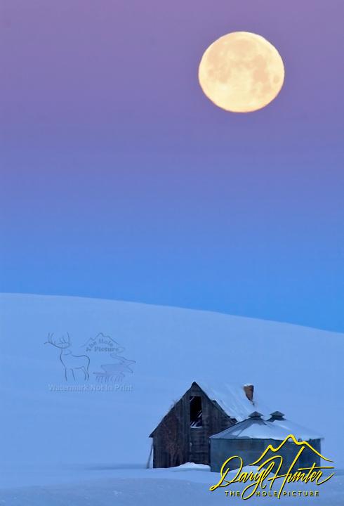 Full Moon and Sunrise over derilict homestead on twenty below zero morning in Swan Valley Idaho