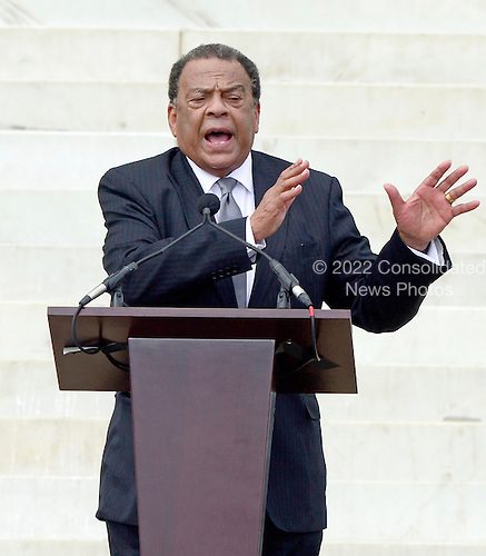 Ambassador Andrew Young makes remarks at the Let Freedom Ring ceremony on the steps of the Lincoln Memorial to commemorate the 50th Anniversary of the March on Washington for Jobs and Freedom<br /> Credit: Ron Sachs / CNP