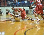 "Ole Miss forward Terrance Henry (1) and Arkansas' Marshawn Powell (33) battle for the ball at C.M. ""Tad"" Smith in Oxford, Miss. on Saturday, March 5, 2010. (AP Photo/Oxford Eagle, Bruce Newman)"