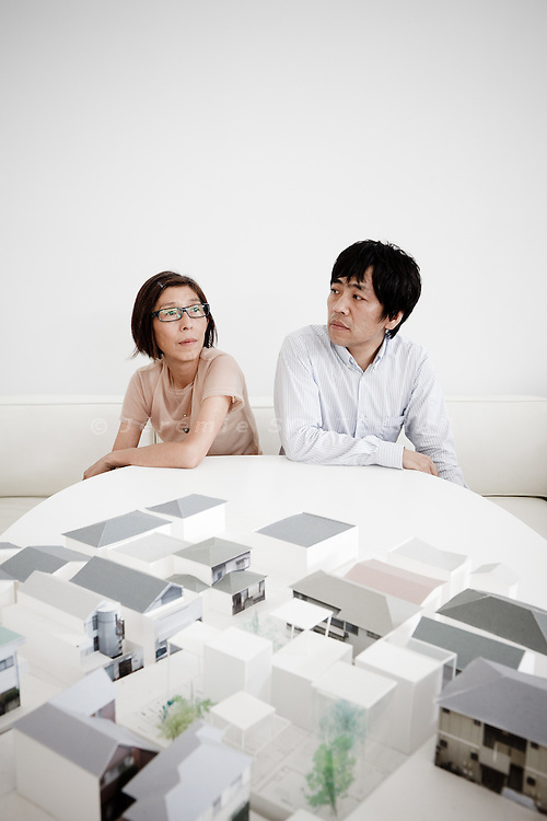 Tokyo, June 7 2011 - Portrait of the architects Ryue Nishizawa (right) and Kazuyo Sejima (left) , founders of SANAA, at their office in Tatsumi, Tokyo.