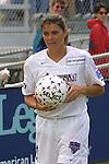 Mia Hamm prepares to take a corner kick at SAS Stadium in Cary, North Carolina on 4/5/03 during a game between the Carolina Courage and Washington Freedom. The Washington Freedom won the game 2-1.