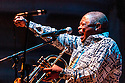 Legendary jazz trumpeter Hugh Masekela performing at the Cheltenham Jazz Festival in England.