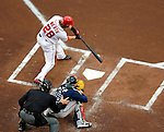 31 March 2011: Washington Nationals outfielder Jayson Werth singles during his first plate appearance in a Nationals uniform against the Atlanta Braves at Nationals Park in Washington, District of Columbia. The Braves shut out the Nationals 2-0 on Opening Day to start the 2011 Major League Baseball season. Mandatory Credit: Ed Wolfstein Photo