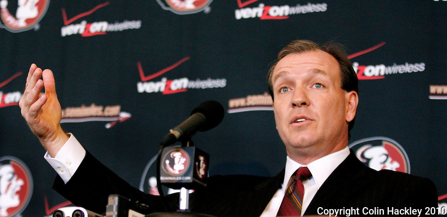 TALLAHASSEE, FLA. 1/6/10-FISHER 010610 CH06-Jimbo Fisher talks about his new job as head coach of the Florida State University football team, Wednesday during a news conference in Tallahassee...COLIN HACKLEY PHOTO