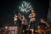 In this Friday, Jul. 19, 2013 photo, anti Morsi protesters gather in Al-Etahdya square to celebrate the Morsi ouster in Cairo, Egypt. (Photo/Narciso Contreras).