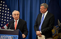 New York City Mayor-elect Bill de Blasio ( R ) and Bill Bratton attends a press conference where De Blassio named Mr Bratton to  lead the New York Police Department. New York December 05, 2013, Photo by Kena Betancur / VIEWpress.