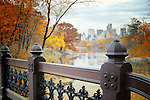 Overlooking the Lake towards Central Park South on an autumn day. Bridge railing in the foreground, Central Park South buildings in the background.