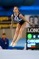 Nadezda Chikhireva of Russia  performs on floor exercise in junior women's event final competition at 2006 European Championships Artistic Gymnastics at Volos, Greece on April 30, 2006.  (Photo by Tom Theobald)<br />