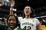 01 APRIL 2012:  Brittney Griner (42) of Baylor University celebrates the Lady Bears' victory against Stanford University during the Division I Women's Final Four semifinals at the Pepsi Center in Denver, CO.  Baylor defeated Stanford 59-47 to advance to the championship final.  Jamie Schwaberow/NCAA Photos