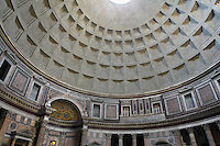 Coffered concrete dome, Rotunda of the Pantheon, ancient temple in Rome dating from 125 AD, later converted into the church of Santa Maria ad Martyres, Rome, Italy. Picture by Manuel Cohen