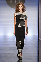 Model walks runway in an outfit by Jillian Sinclair, during the Future of Fashion 2017 runway show at the Fashion Institute of Technology on May 8, 2017.