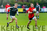 In Action Glenbeigh-Glencar' s Darran O'Sullivan gets away from Griffin's Jim Liston   in the  AIB Munster Junior Club Football Championship Semi-Final – Glenbeigh-Glencar (Kerry) v Gerald Griffins (Limerick) at Gerald Griffins GAA Club, Ballyhahill on Saturday