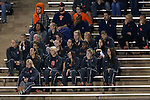 18 October 2013: Syracuse's women's soccer team, who had played their UNC counterparts the previous day, watch the game. The University of North Carolina Tar Heels hosted the Syracuse University Orangemen at Fetzer Field in Chapel Hill, NC in a 2013 NCAA Division I Men's Soccer match. UNC won the game 1-0.