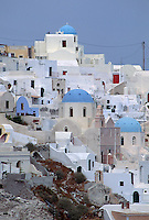 Santorini, Greece churches and homes on a hillside