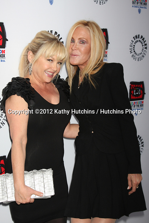 "LOS ANGELES - APR 12:  Charlene Tilton, Joan Van Ark arrives at Warner Brothers ""Television: Out of the Box"" Exhibit Launch at Paley Center for Media on April 12, 2012 in Beverly Hills, CA"
