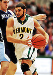 16 January 2012: University of Vermont Vermont Catamount forward Luke Apfeld, a Sophomore from Wolfeboro, NH, in action against the University of Maine Black Bears at Patrick Gymnasium in Burlington, Vermont. The Catamounts defeated the Black Bears 79-65 notching their 10th win of the season. Mandatory Credit: Ed Wolfstein Photo