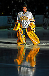 3 January 2009: University of Vermont Catamount goaltender Rob Madore, a Freshman from Venetia, PA, is introduced prior to the championship game of the Catamount Cup Ice Hockey Tournament against the St. Lawrence Saints hosted by UVM at Gutterson Fieldhouse in Burlington, Vermont. Madore recorded his first college career shut out against the Saints leading the Cats to a 4-0 win and taking the tournament for the second time since its inception in 2005...Mandatory Photo Credit: Ed Wolfstein Photo