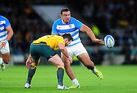 Agustin Creevy of Argentina passes the ball. The Rugby Championship match between Argentina and Australia on October 8, 2016 at Twickenham Stadium in London, England. Photo by: Patrick Khachfe / Onside Images
