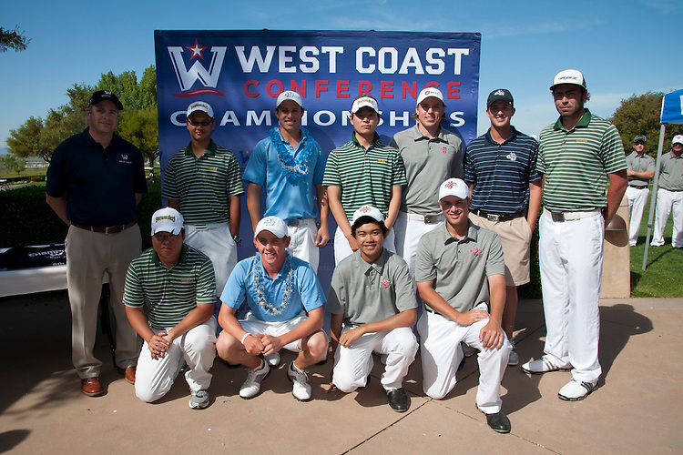 April 18, 2012; Hollister, CA, USA; WCC top-ten finishers with WCC commissioner Jamie Zaninovich (Top Row, far left) during the WCC Golf Championships at San Juan Oaks Golf Club. Pictured Top Row (L-R): San Francisco Dons golfer Jobim Carlos, San Diego Toreros golfer Alex Ching, San Francisco Dons golfer Ji Hwan Park, Saint Mary's Gaels golfer Anders Engell, Gonzaga Bulldogs golfer Peter Gullickson, and San Francisco Dons golfer Taylor Travis. Bottom Row (L-R): San Francisco Dons golfer James Back, San Diego Toreros golfer Grant Forrest, Saint Mary's Gaels golfer Jonathan De Los Reyes, and Saint Mary's Gaels golfer Ben Geyer.