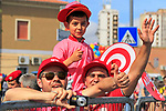 Young fan in Olbia finish town of Stage 1 of the 100th edition of the Giro d'Italia 2017, running 206km from Alghero to Olbia, Sardinia, Italy. 4th May 2017.<br /> Picture: Eoin Clarke | Cyclefile<br /> <br /> <br /> All photos usage must carry mandatory copyright credit (&copy; Cyclefile | Eoin Clarke)<br /> <br /> All photos usage must carry mandatory copyright credit (&copy; Cyclefile | LaPresse)