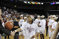 March 14, 2010.  Melanie Murphy receives her game ball after the Stanford Cardinal beat the UCLA Bruins to win the 2010 Pac-10 Tournament.