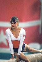 August 6, 1984; Los Angeles, California, USA; Artistic gymnast Romi Kessler of Switzerland performs on balance beam at 1984 Los Angeles Olympics.  Copyright 1984 Tom Theobald
