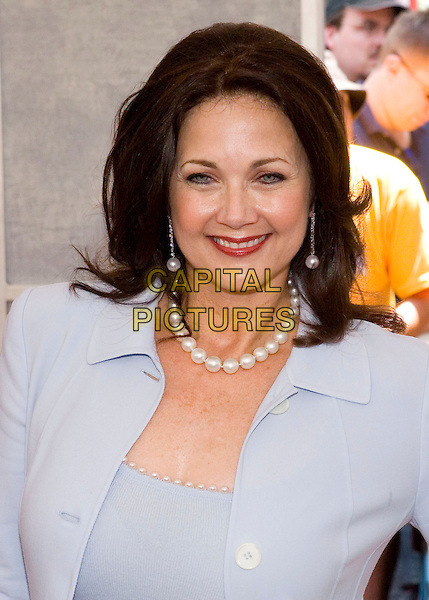 LYNDA CARTER.Walt Disney Pictures' World Premiere of 'Sky High' held at the El Capitan Theatre, Hollywood, California.  .July 24th, 2005.Photo Credit: Zach Lipp/AdMedia.headshot portrait pearl necklace dangling earrings.www.capitalpictures.com.sales@capitalpictures.com.© Capital Pictures.